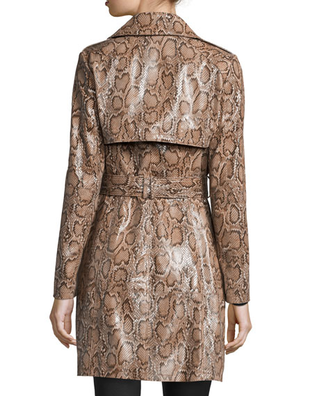 Snake-Print Leather Trenchcoat