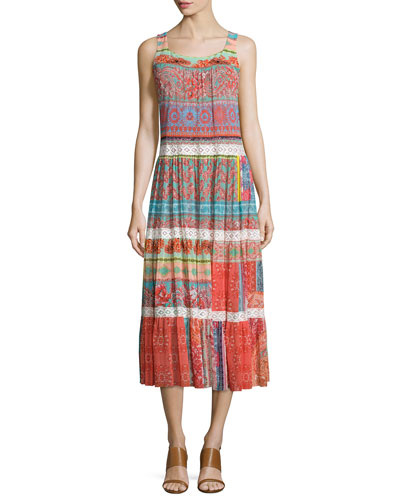Floral-Paisley-Print Maxi Dress