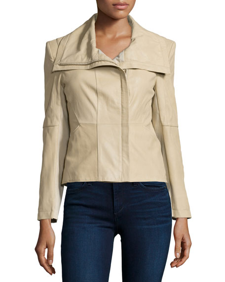 Neiman Marcus Leather Jacket with Ponte Panels