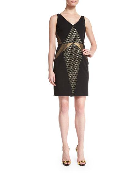MIGNON Sleeveless Metallic-Inset Dress, Black/Gold