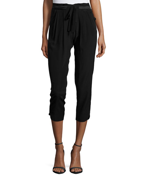 Ramy Brook Allyn Drawstring-Waist Jogger Pants, Black