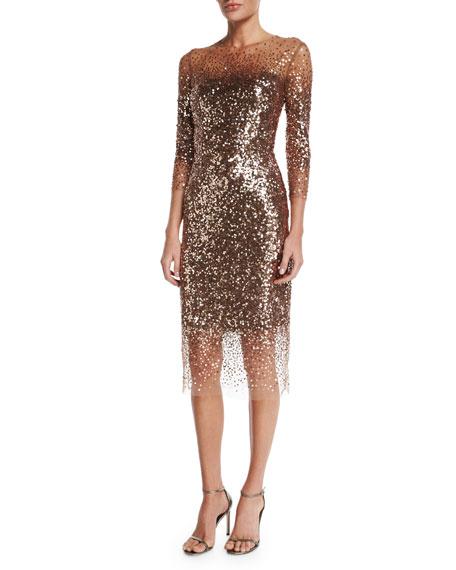 Monique Lhuillier Sequined Ombre Illusion 3/4-Sleeve Dress,