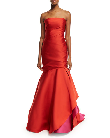 Monique Lhuillier Strapless Colorblock Ball Gown, Fire/Magenta