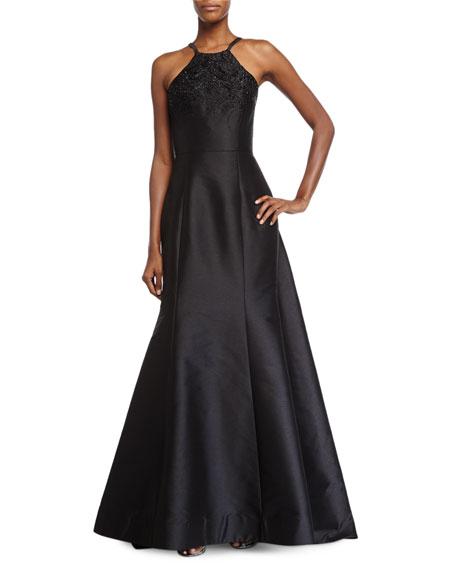 ML Monique Lhuillier Halter-Neck Embellished Evening Gown, Black