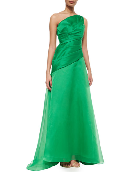 ML Monique Lhuillier One-Shoulder Draped Bodice Gown, Green