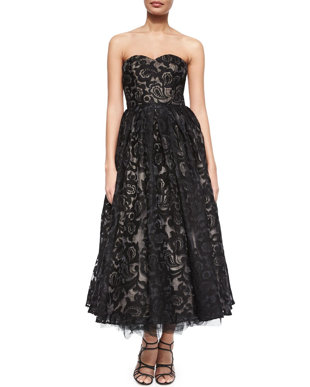 Strapless Sweetheart Tea Length Dress