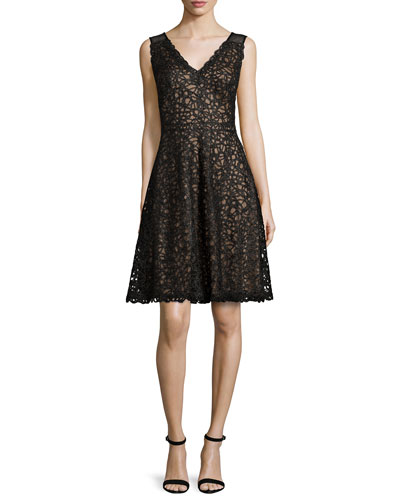 Sleeveless Embroidered Lace Full Dress