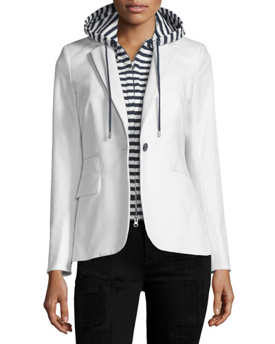Classic Compact Cotton One-Button Jacket, White