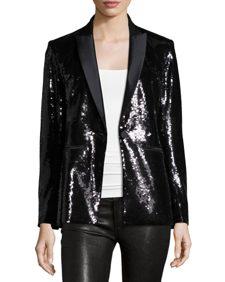Veronica Beard Sequin Tuxedo Blazer, Black