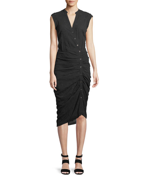 Veronica Beard Ruched Button-Front Shirtdress, Black