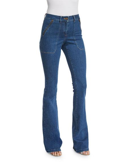 Veronica Beard Patch-Pocket Denim Skinny-Flare Jeans, '70s Wash