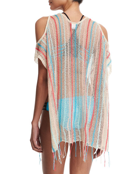 Nightfall Striped-Crocheted Beach Sweater, Natural