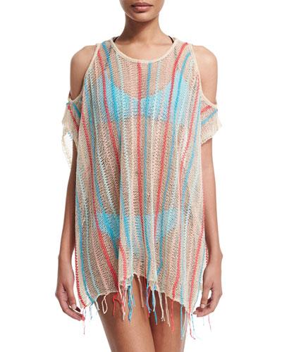 Nightfall Striped-Crocheted Beach Sweater, Natural