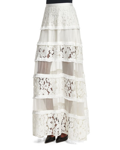 Emil Tiered Lace Maxi Skirt, White