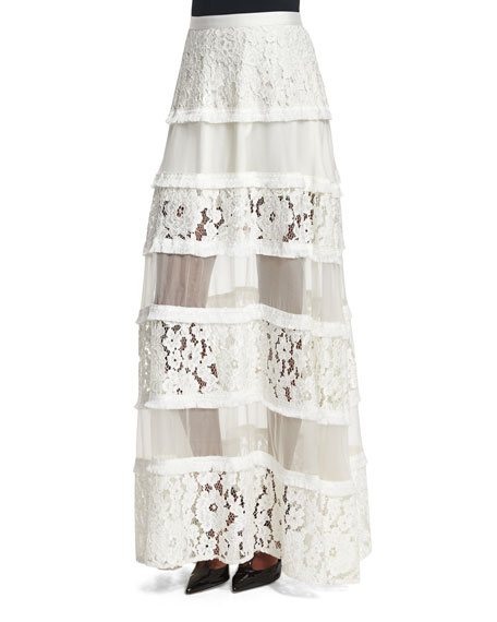 Alexis Emil Tiered Lace Maxi Skirt, White