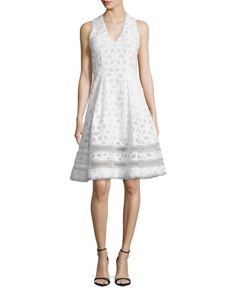 Jonathan Simkhai Sleeveless Twill Tea Dress, White