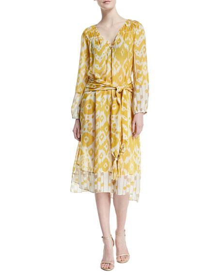 Foundrae Printed V-Neck Maxi Dress, Goldenrod