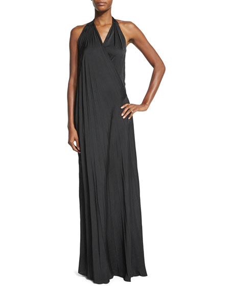 L'AgenceHarley Vintage-Satin Maxi Halter Dress, Black