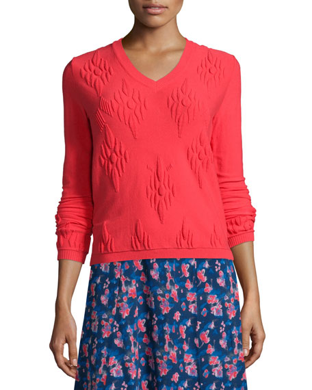 Tanya Taylor Sarah Jacquard Pullover Sweater, Hot Pink