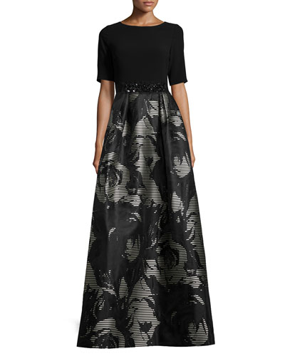 Short-Sleeve Floral Jacquard Gown