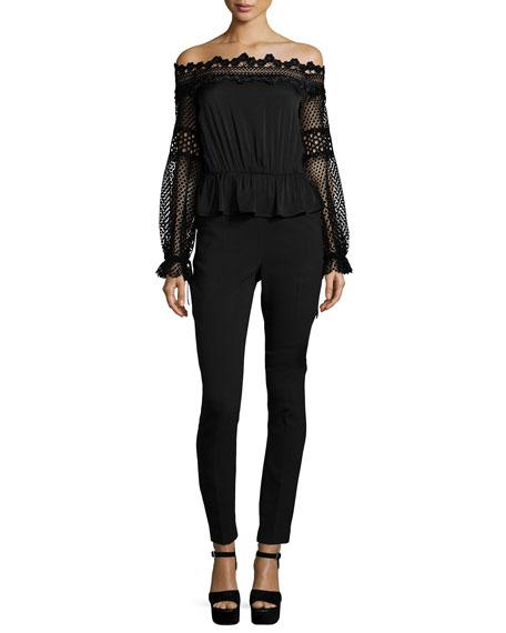 Self-Portrait Off-the-Shoulder Lace-Trim Jumpsuit, Black