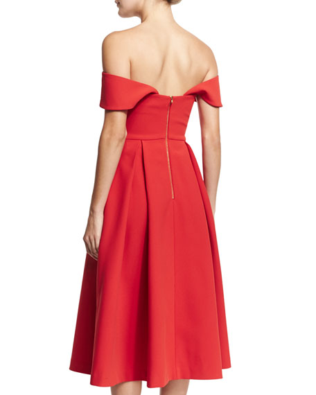 Ayelette Cutout Double-Crepe Dress, Red