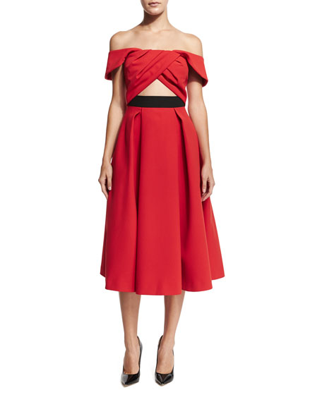 Self Portrait Ayelette Cutout Double-Crepe Dress, Red