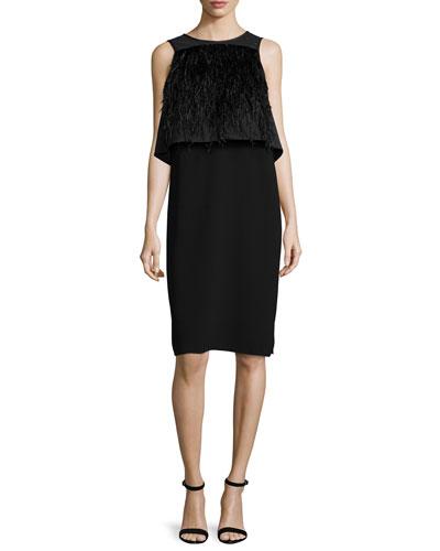 Sleeveless Feather-Trim Illusion Dress, Black