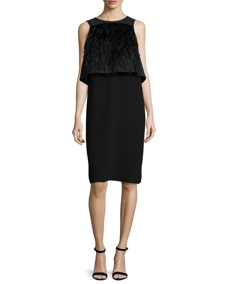 Tibi Sleeveless Feather-Trim Illusion Dress, Black