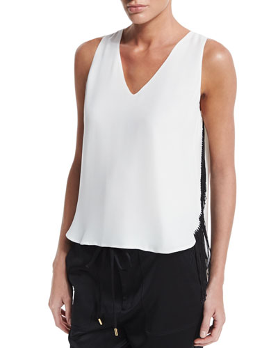Silk Fringe-Trim Tank, Cream