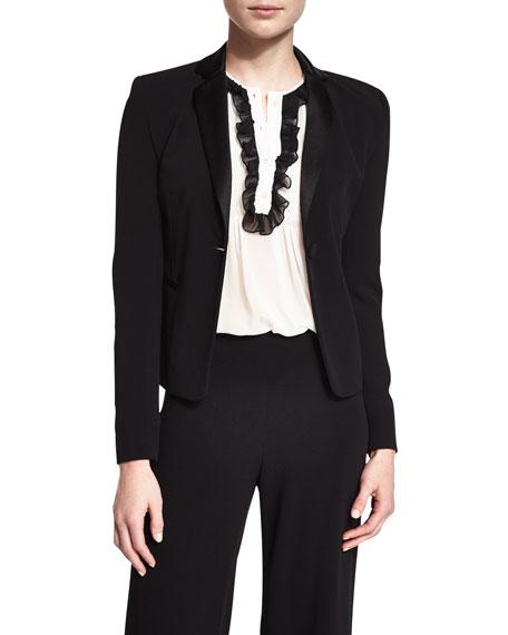 Diane von Furstenberg Jennie Single-Button Crepe Blazer, Black