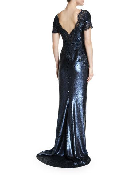 Short-Sleeve Embellished Gown, Navy