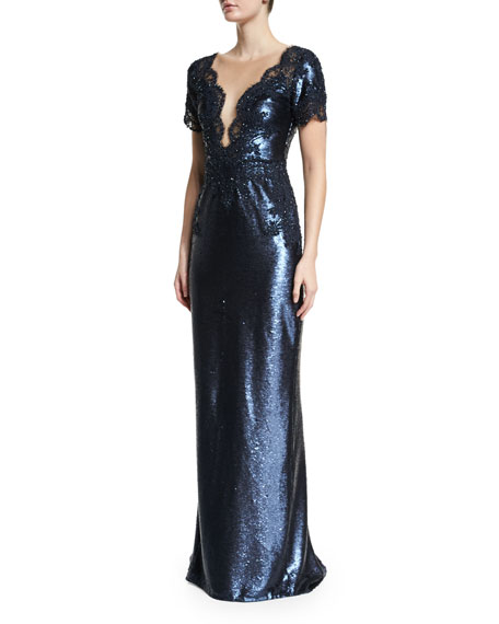 Marchesa Short-Sleeve Embellished Gown, Navy