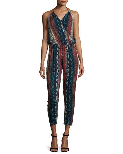 Halter-Neck Snake-Print Jumpsuit, Night