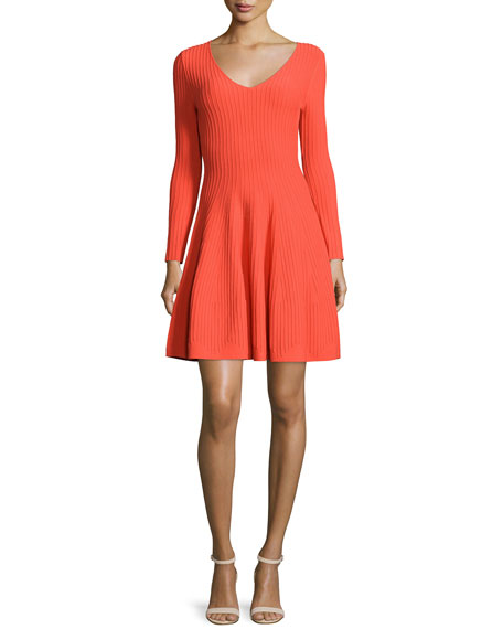 Milly Long-Sleeve Fit & Flare Ribbed Dress