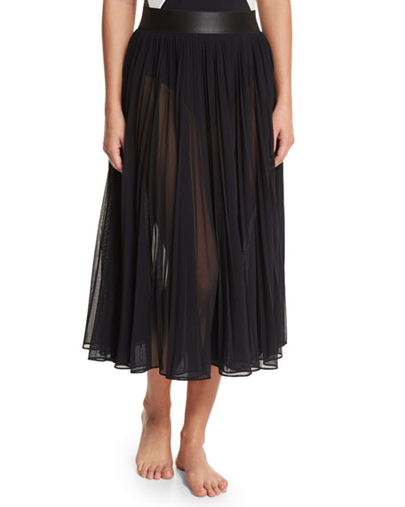 Carmen Marc Valvo Sundance Pleated Chiffon Coverup Skirt
