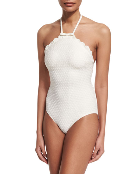 jacquard polka-dot scalloped one-piece swimsuit