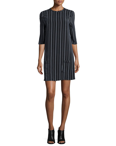 Equipment Aubrey Striped Shift Dress, True Black/White
