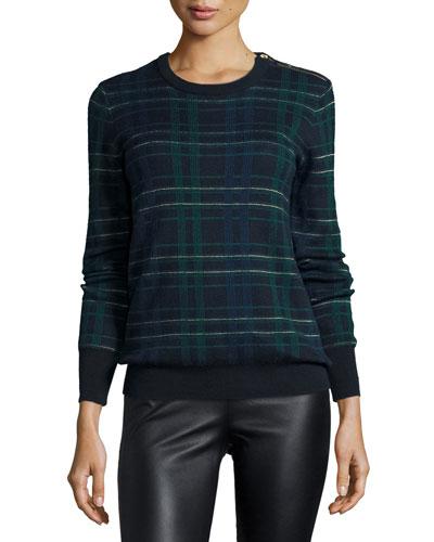 Ondine Long-Sleeve Plaid Sweater, Ink Multi