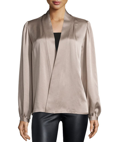 Long-Sleeve Wrap Blouse, Bison