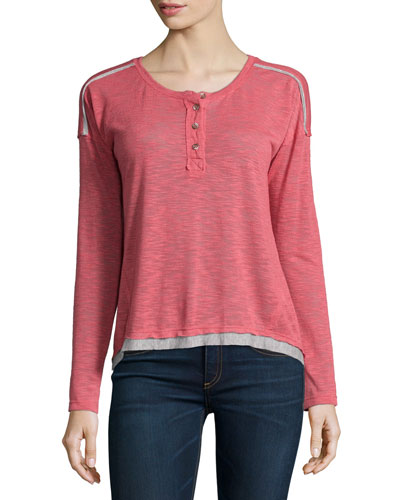 Cozy Melange Long-Sleeve Top, Heather Sienna
