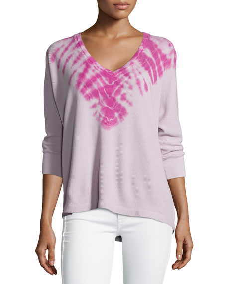 Splendid Kaleidoscope Thermal 3/4-Sleeve Top, Clay/Electric Purple