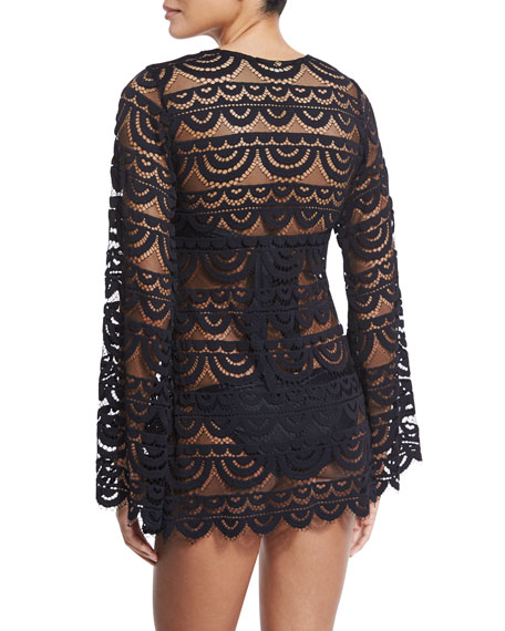 Noah Crocheted Tunic Coverup, Black/Gold