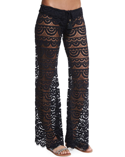 Malibu Embroidered-Lace Coverup Pants