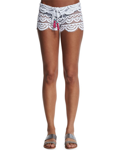 Lexi Embroidered-Lace Coverup Shorts
