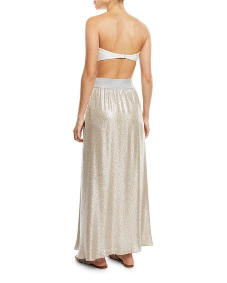 damme bright metallic a line maxi skirt