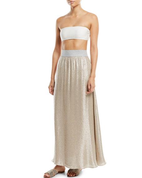 Bright Metallic A-Line Maxi Skirt Coverup