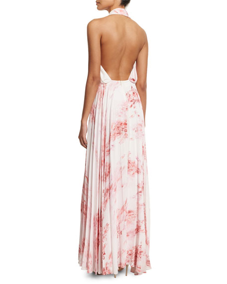 Sleeveless Halter Floral-Print Maxi Dress