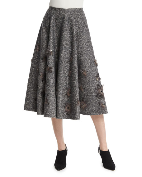 Michael Kors Collection Embellished Dance Skirt, Charcoal