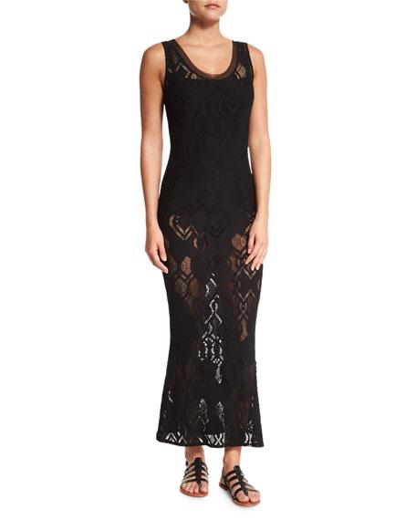Fuzzi Lace Slip Maxi Dress, Black